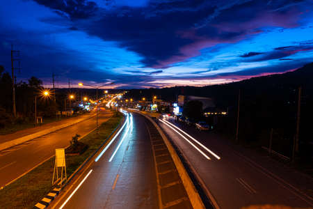 The Night Traffic at Khao kor., Thailand.