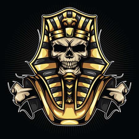 Tattoo Design Skull Pharaoh on black Vectores