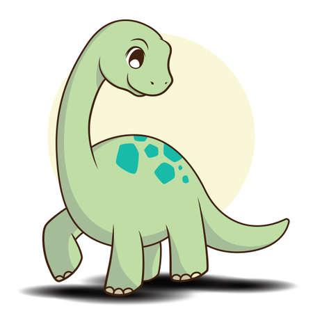 Cute apatosaurus cartoon., Cute dinosaur Concept.