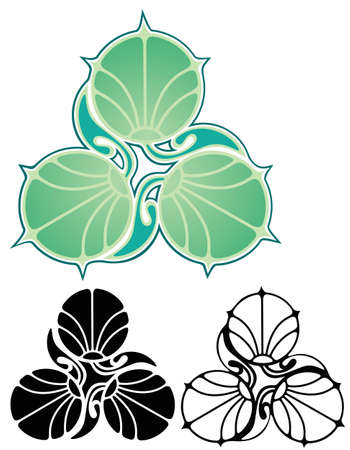 art nouveau style emblem of three lily pads, for business card, letterhead or brochure Stock Vector - 19553620