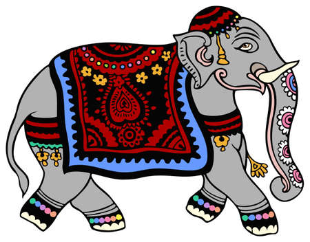 indian elephant in formal wear ready for the parade royalty free