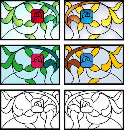 Stained glass design in full color, flat, and black outline versions. Typical of 20s private homes in the USA Illustration