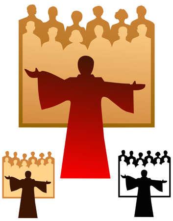 Graphic emblem of a choir, with flat and black only versions. Illusztráció