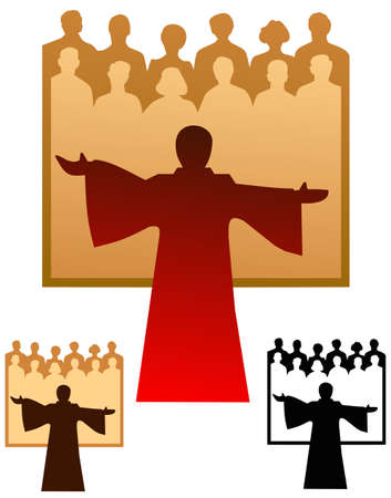 Graphic emblem of a choir, with flat and black only versions. Illustration