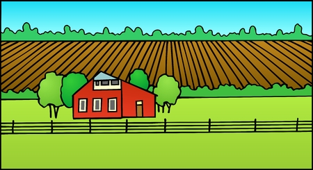 Quiet rural scene with plowed field and barn