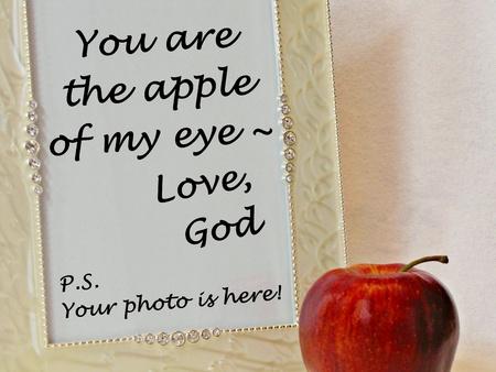 appel en frame met briefje van God Apple van mijn oog