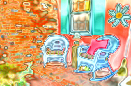 summertime porch with chairs   abstract art effect