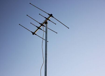 Old antenna that still Receives the analog signal. Stock Photo
