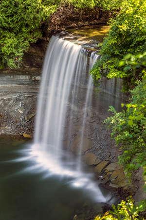 Bridal Veil Falls on Manitoulin Island. Stock Photo