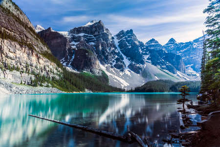 louise: One of the many iconic views of Moraine Lake in Banff. Stock Photo