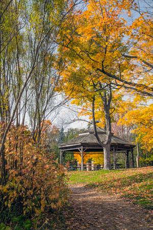 gazebo: Gazebo in Waterloo Park in autumn. Stock Photo