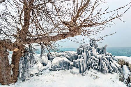 Interesting ice formations at Ashbridges Bay. 版權商用圖片