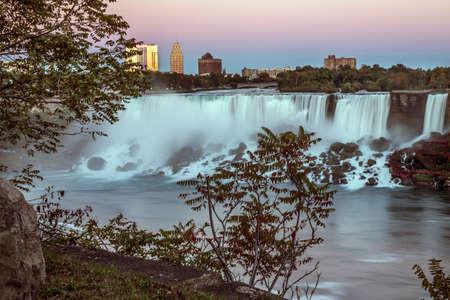american falls: The American Falls at Niagara, at twilight.