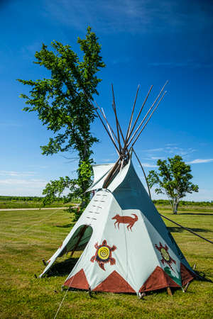 american native: One of the few teepees at Ten-Mile Point on Manitoulin Island.