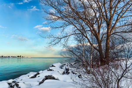 ontario: Winterscene at Lake Ontario in Toronto.