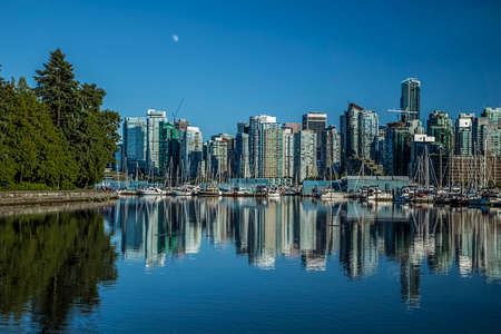 stanley: Cith of Vancouver when viewed from Stanley Park in BC. Stock Photo