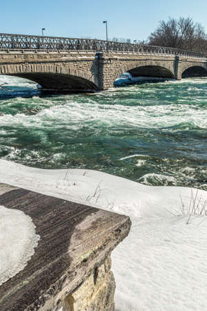 american falls: The raging Niagara river, just before the plunge down the American Falls. Stock Photo
