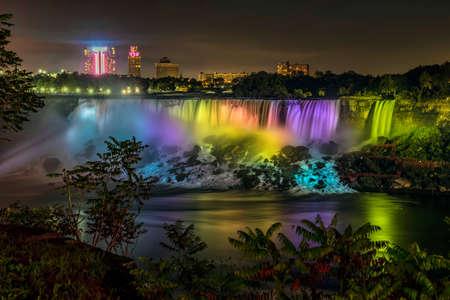 american falls: The American Falls at Niagara Falls, nightly illumination.