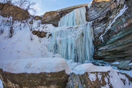 A very frozen Buttermilk Falls. Stock Photo