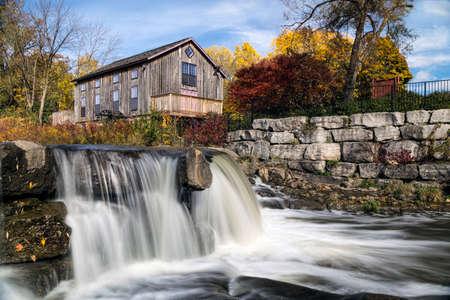 replica: Abraham Erbs Grist Mill replica by the falls.