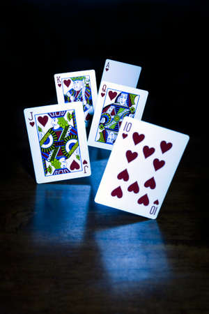 royal flush: A Royal Flush, trick shot.