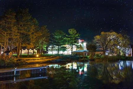 illuminated: Illuminated resort under the stars.