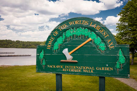 The worlds largest axe is located in Nackawic, New Brunswick, Canada and weighs over 55 tons and stands 15 metres tall. Stock Photo
