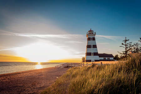West Point Lighthouse at sunset, the tallest lighthouse on Prince Edward Island.