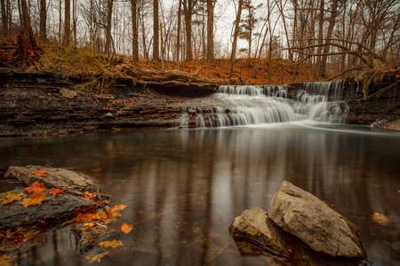 Wahoosh Falls of Mississauga Ontario, in late fall. Canada.