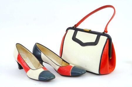 swanky: Red White and Blue Mod Purse and Shoes Stock Photo