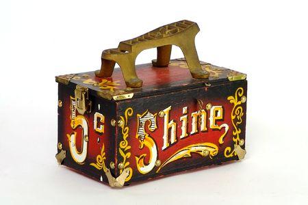 shine: Vintage shoe shine box with white background Stock Photo