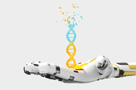 Robot hand destroy to human Dna strand Stock Photo