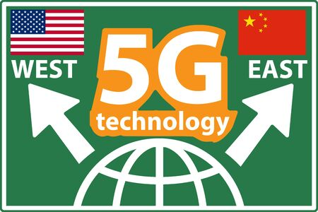 5g cellular network technology race in west and east concept