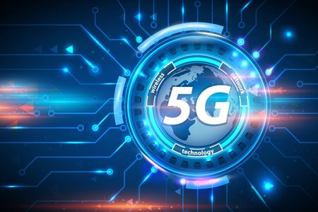 5G wireless network technology concept background. 5G cellular mobile networks is high-speed Internet for new generation phones. 5G global innovation vector illustration