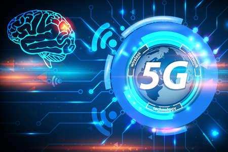 5G Health Hazard risk of brain tumors concept background. 5G cellular mobile networks is high-speed Internet for new generation phones. 5G global innovation vector illustration Çizim