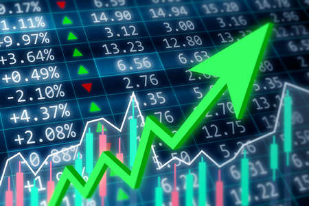 Stock market, financial and business concept. Financial data on a monitor with green arrow going up and red, green candle stick graph chart on dark background Stok Fotoğraf