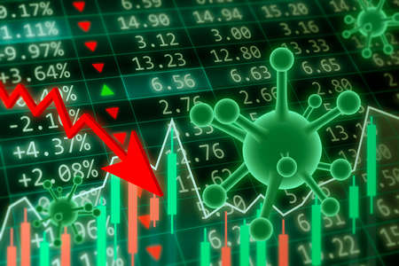 Coronavirus Impact on Stock Market concept. Financial data on a monitor with coronavirus pandemic and red arrow going down. Red and green candle stick graph chart on dark green background Stok Fotoğraf