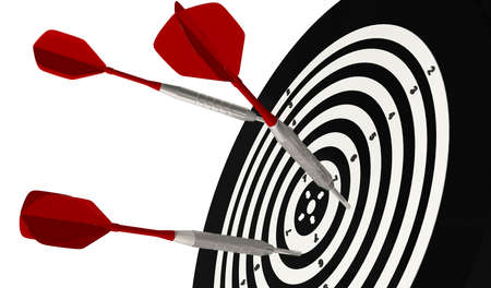 3D Rendering,Realistic close up of the three dart arrows hitting to bullseye with selective focus, isolated on white background. Standard-Bild