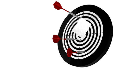3D Rendering,Realistic of Dartboard with three dart arrows stick to white note paper on bullseye, isolated on white background.