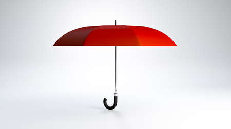 3D Rendering,Red umbrella mockup on white studio background.