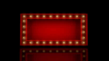 3D Rendering,Realistic red mock-up of theater sign with yellow glowing bulbs on around,Empty space advertisement, Shiny and reflection floor, black color background.