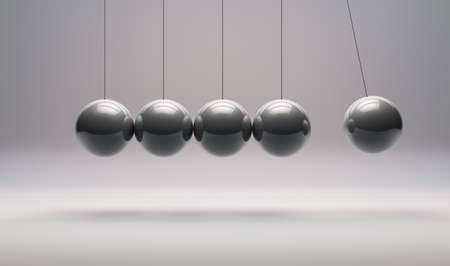 3D Rendering,The Realistic of Newton's cradle balancing balls with shiny reflection, metal material and surface, on the white room background.