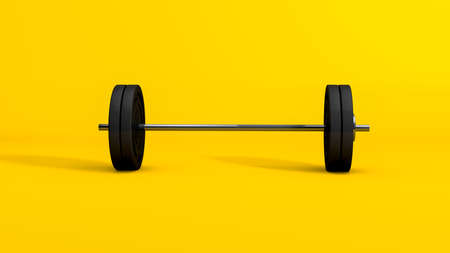 3D Rendering,Realistic mock-up of barbell, weightlifting equipment object with shiny reflection metal texture and shadow, isolated on yellow background.