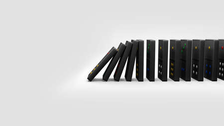 3D Rendering, Realistic of dominoes falling toppled effect on side view, isolated on white background.