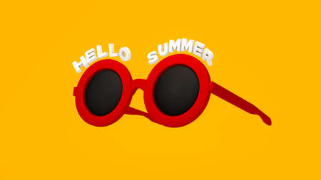 3D Rendering, Realistic red sunglasses  on isolated yellow background, Hello summer concept. Zdjęcie Seryjne