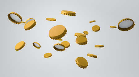 Realistic mock up of gold beverage bottle caps to flying in the air Stock Photo