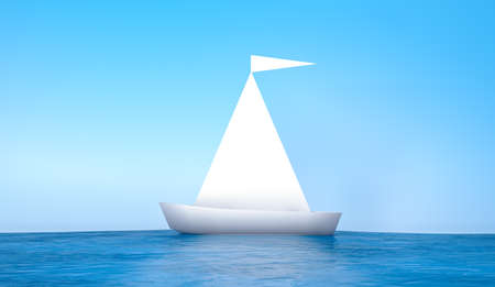 3d rendering, Realistic mock up of white folded paper boat origami style with empty space for your copy and design on the object, blue sky and ocean background.
