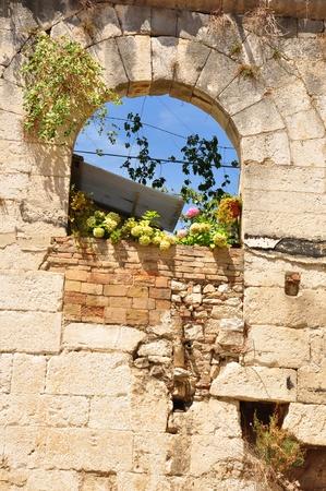rockwall: window in the wall Stock Photo