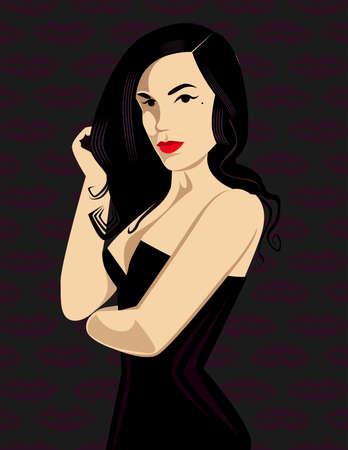 robe noire: Mode femme avec rouge � l�vres rouge et robe noire