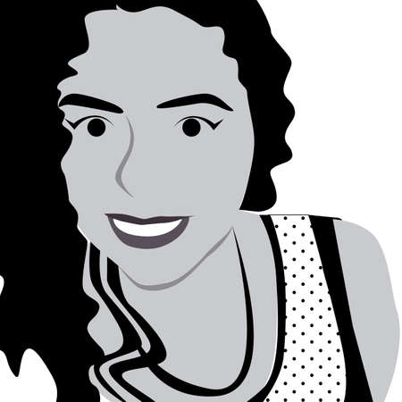 tennager: Girl vector style black and white